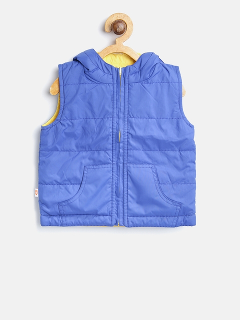 612 league Boys Blue & Yellow Solid Reversible Padded Jacket