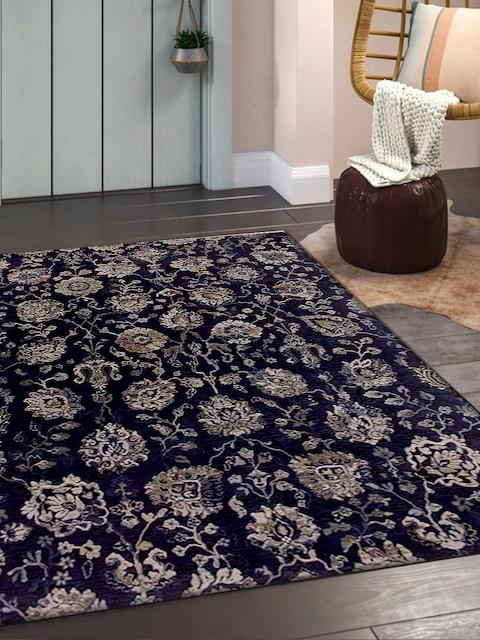 OBSESSIONS Navy Blue & Beige Anti-Skid Carpet