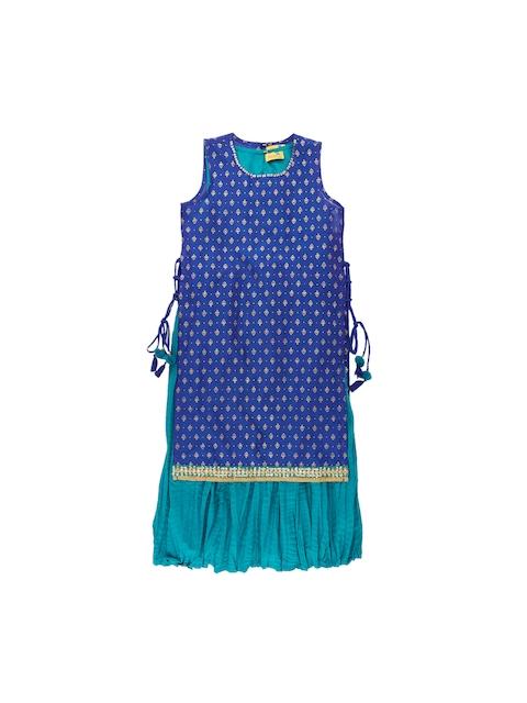 AKKRITI BY PANTALOONS Girls Blue Printed Layered Kurta