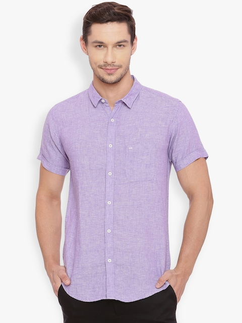 Basics Men Purple Slim Fit Self Design Casual Linen Shirt