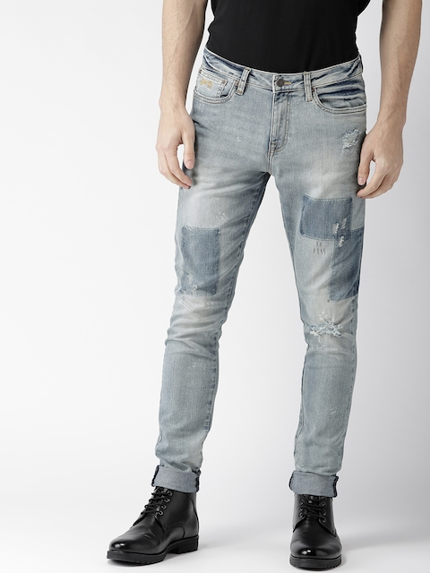 Aeropostale Men Blue Super Skinny Fit Mid-Rise Low Distressed Jeans