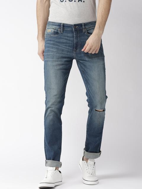 Aeropostale Men Blue Skinny Fit Stretchable Mid-Rise Slash Knee Jeans