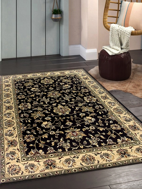OBSESSIONS Beige & Blue Polypropylene Anti-Skid Rectangle Carpet
