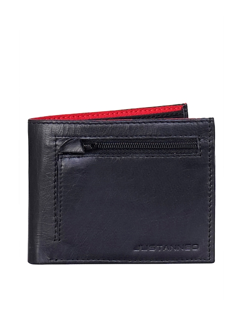 Justanned Men Black Solid Leather Two Fold Wallet