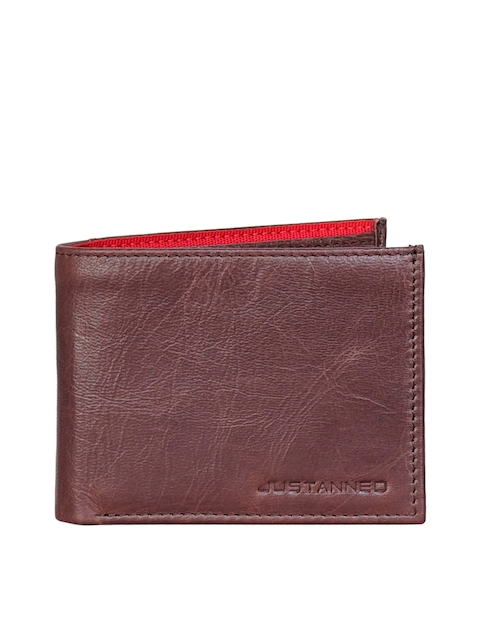 Justanned Men Brown Textured Leather Two Fold Wallet