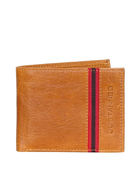Justanned Men Tan Brown Leather Two Fold Wallet