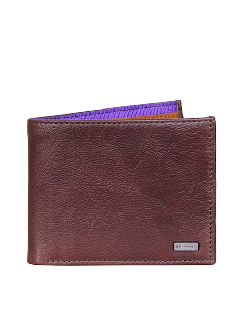 Justanned Men Brown Solid Leather Two Fold Wallet