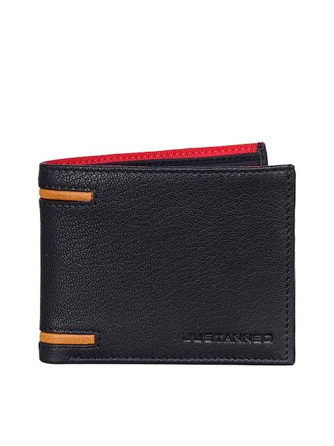 Justanned Men Black Self Design Leather Two Fold Wallet