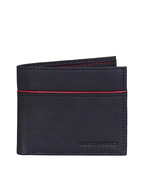 Justanned Men Black Self Design Two Fold Leather Wallet