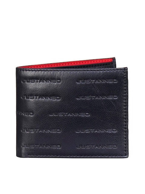 Justanned Men Black Textured Two Fold Leather Wallet