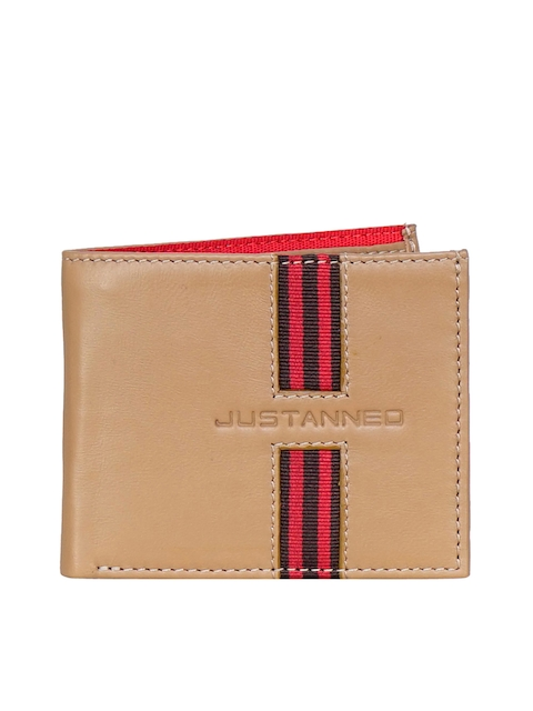 Justanned Men Tan Brown Textured Two Fold Leather Wallet