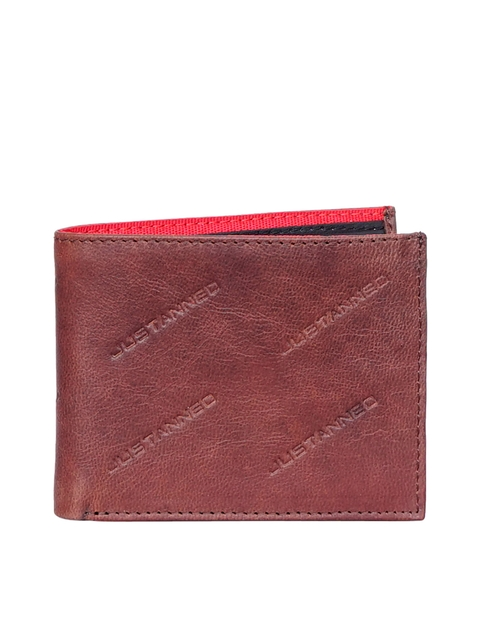 Justanned Men Rust Brown Textured Two Fold Leather Wallet