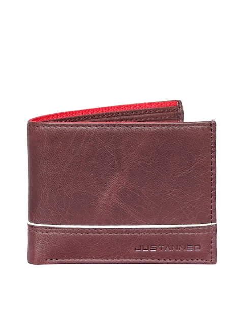 Justanned Men Brown Solid Two Fold Leather Wallet