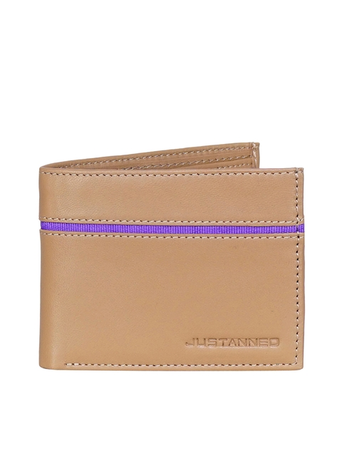 Justanned Men Tan Self Design Two Fold Wallet