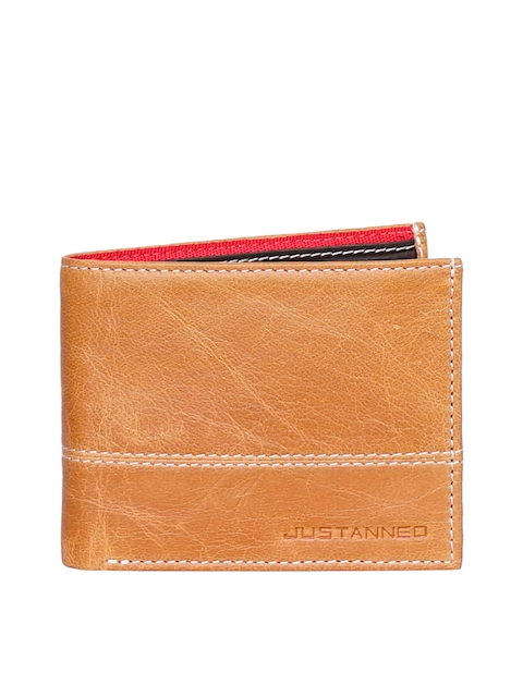 Justanned Men Tan Self Design Leather Two Fold Wallet