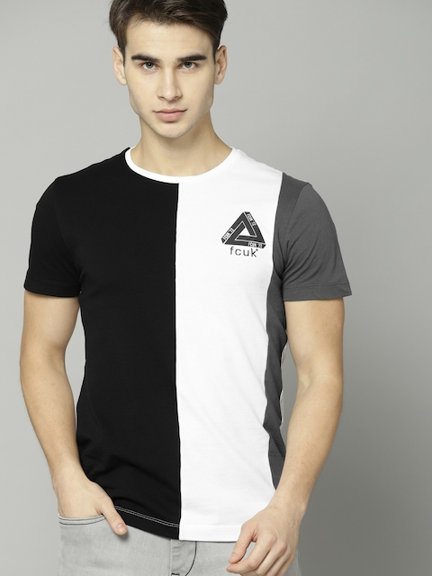 cc06ad61358f 60%off French Connection Men Black & White Colourblocked Round Neck T-shirt