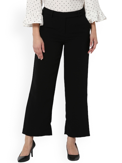 Van Heusen Woman Women Black Regular Fit Solid Parallel Trousers