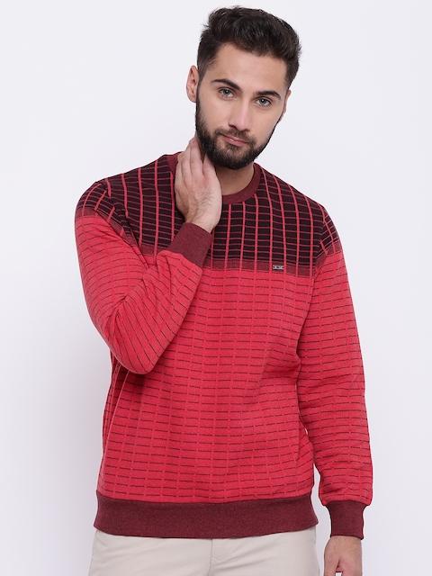Monte Carlo Men Coral Pink Checked Sweatshirt