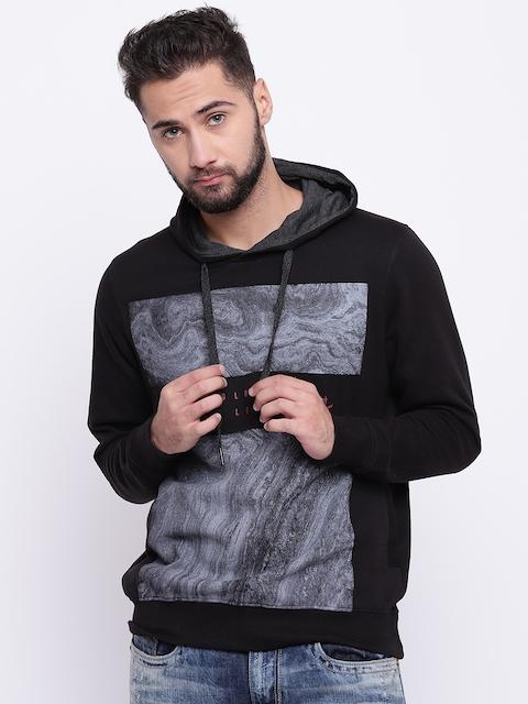 Monte Carlo Men Black & Grey Printed Hooded Sweatshirt