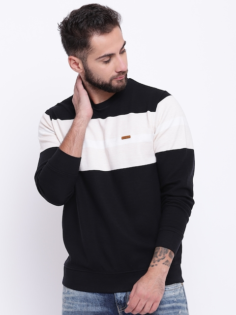 Monte Carlo Men Black & Cream-Coloured Colourblocked Sweatshirt