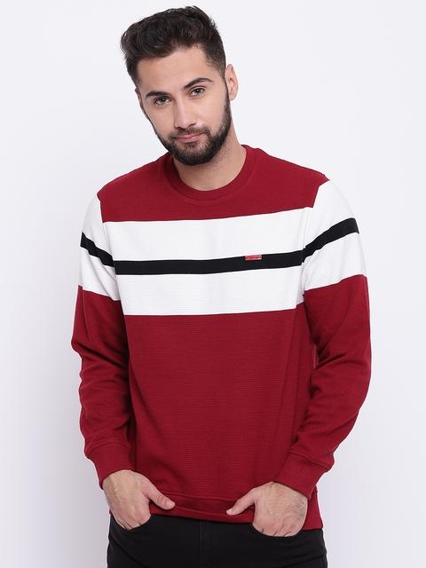 Monte Carlo Men Maroon & White Striped Sweatshirt