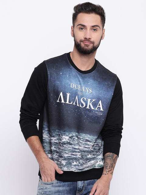 Monte Carlo Men Black & Blue Printed Sweatshirt