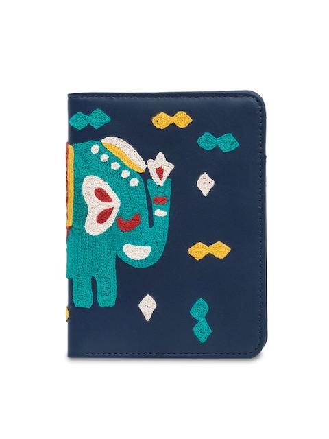 Chumbak Women Navy Blue & Green Embroidered Passport Holder