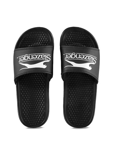 Slazenger Unisex Black & White Printed Sliders