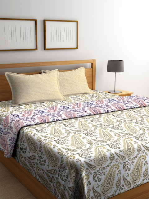 CORE Designed by SPACES White & Olive Green Ethnic Print Bedding Set