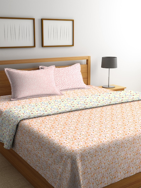CORE Designed by SPACES Orange & Pink Floral Print Bedding Set