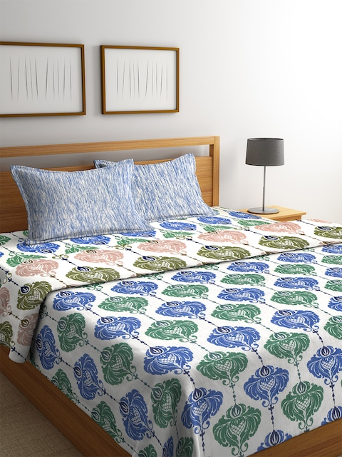CORE Designed by SPACES Blue & Green Ethnic Print Bedding Set