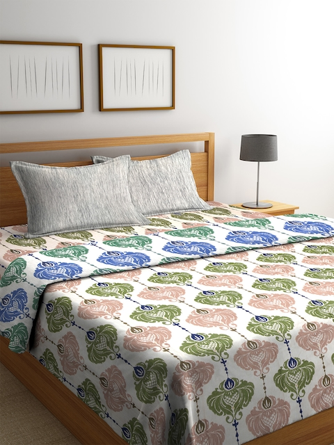 CORE Designed by SPACES Beige & Green Ethnic Print Bedding Set