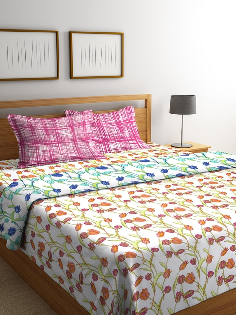 CORE Designed by SPACES Off-White & Green Floral Print Bedding Set