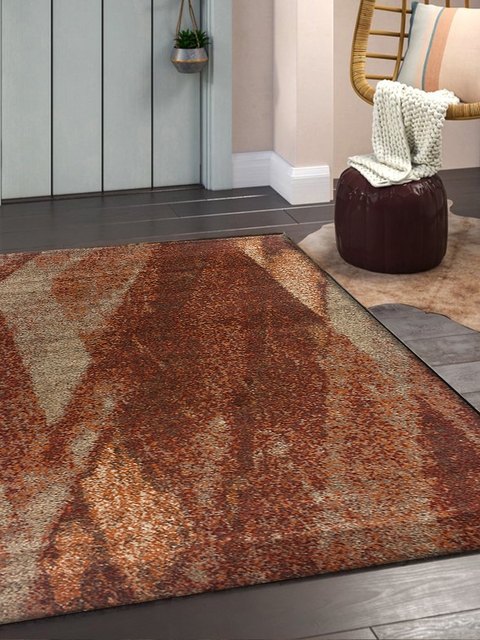 OBSESSIONS Rust Brown Solid Machine Woven Frizee Carpet