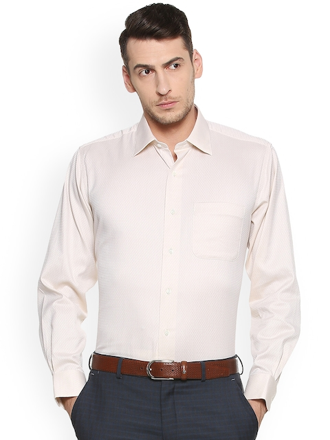 Van Heusen Men Beige Regular Fit Printed Formal Shirt