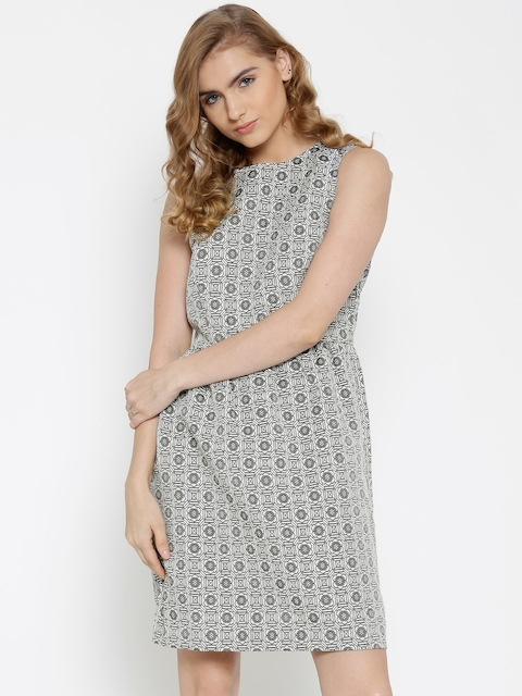 United Colors of Benetton Grey & White Tailored Dress