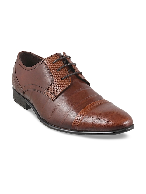 Mochi Men Tan Brown Textured Leather Formal Derbys