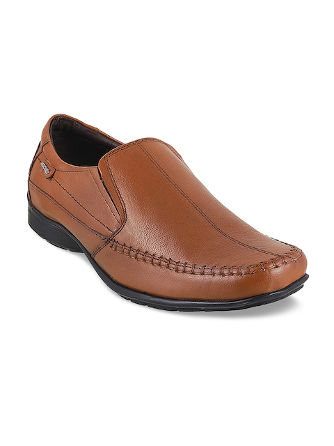 Mochi Men Tan Textured Leather Formal Slip-On Shoes