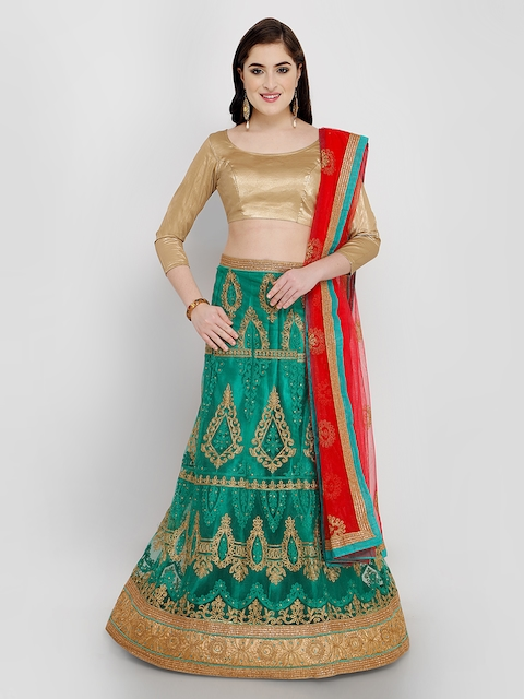 af37a69219 50%off MANVAA Green & Red Solid Semi-Stitched Lehenga & Unstitched Blouse  with Dupatta