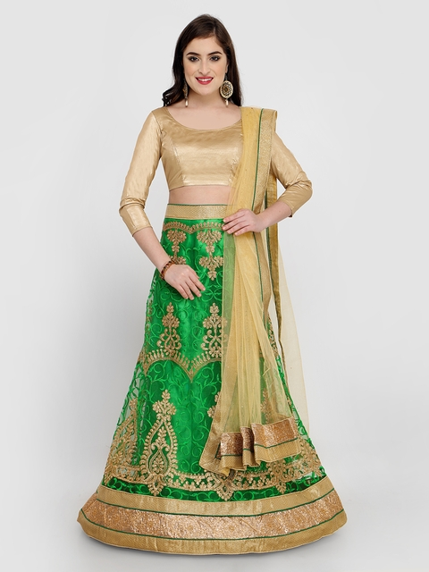 MANVAA Green & Gold-Toned Embroidered Semi-Stitched Lehenga & Unstitched Blouse with Dupatta