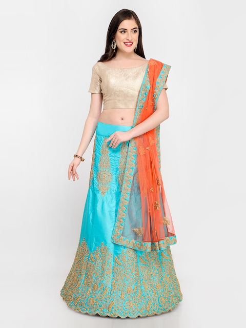 MANVAA Blue & Gold-Toned Embroidered Semi-Stitched Lehenga & Unstitched Blouse with Dupatta
