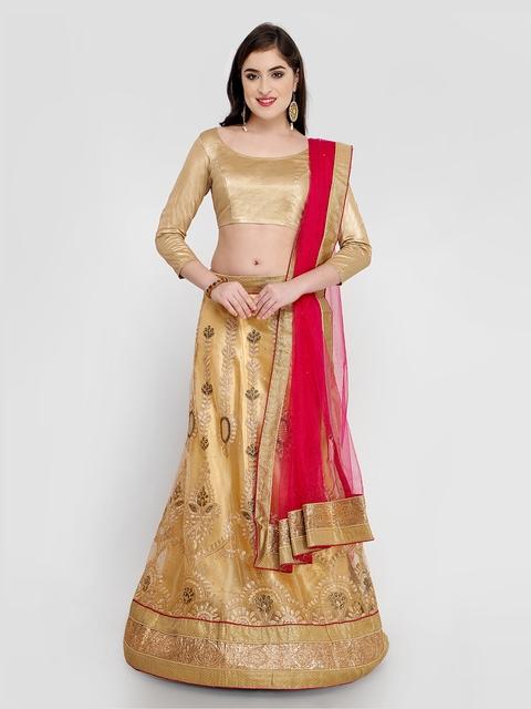 MANVAA Gold-Toned Semi-Stitched Lehenga & Blouse with Dupatta