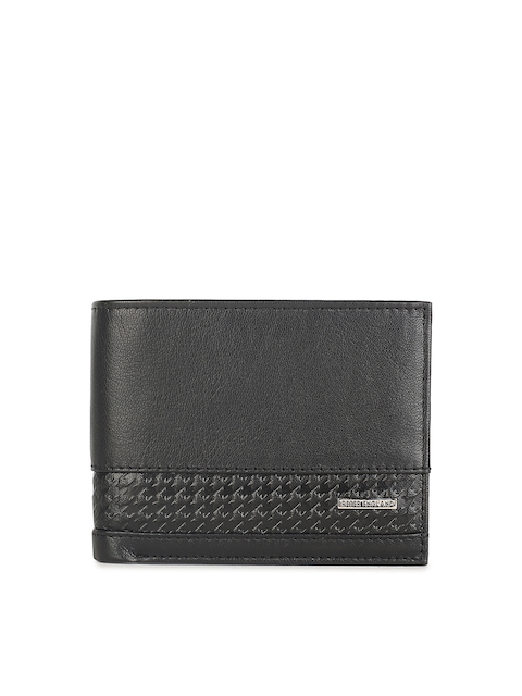 Peter England Men Grey Self Design Leather Two Fold Wallet