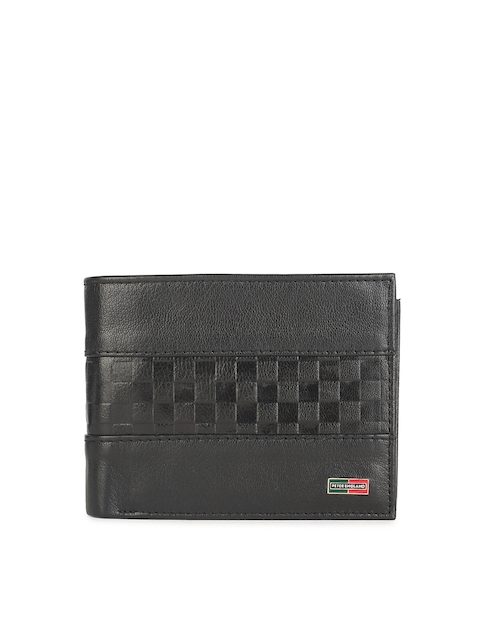 Peter England Men Black Solid Two Fold Leather Wallet