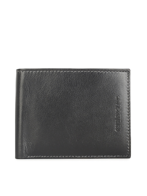 Peter England Men Black Solid Leather Two Fold Wallet