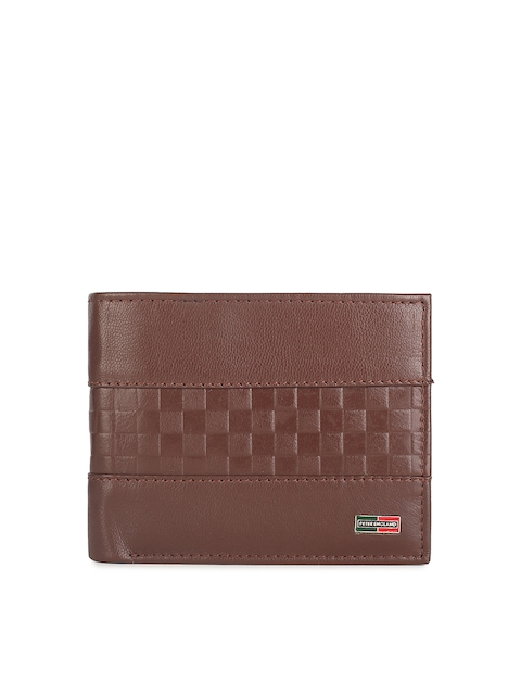 Peter England Men Brown Self Design Leather Two Fold Wallet