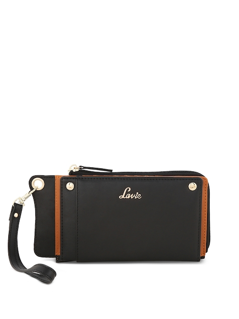 Lavie Women Black Solid Zip Around Wallet