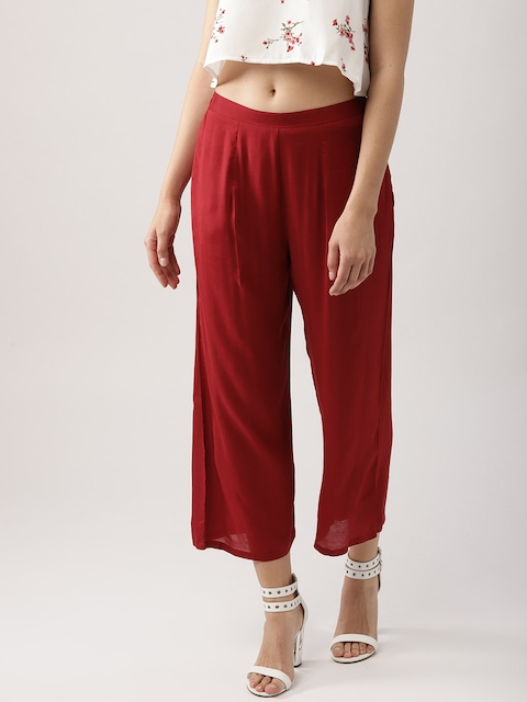 Libas Women Red Wide Leg Solid Cropped Palazzos