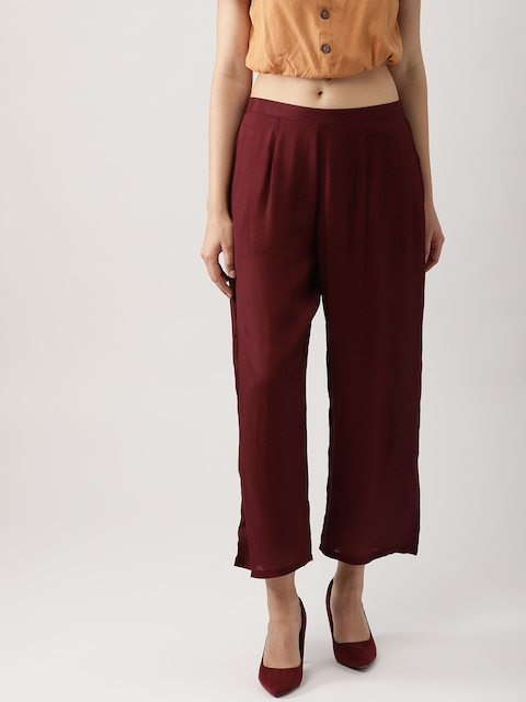 Libas Women Burgundy Solid Wide Leg Cropped Palazzos