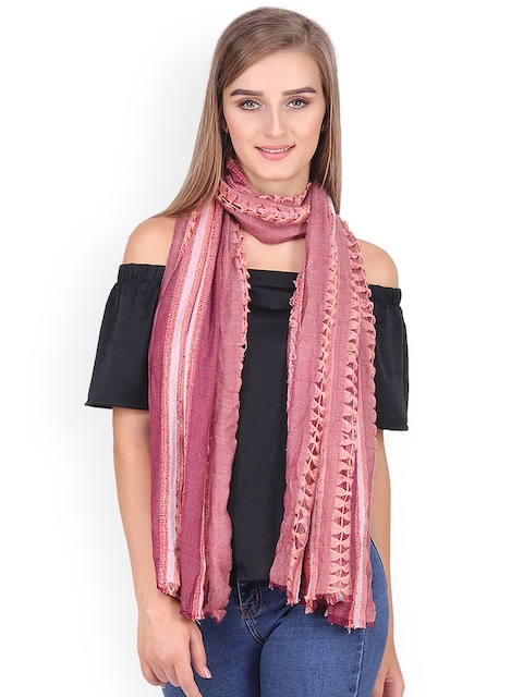 Anekaant Women Peach-Coloured & Maroon Woven Design Stole